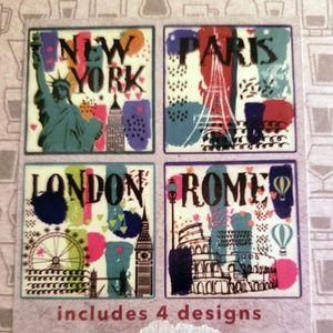 Set 4 Coasters Great Cities NYC Paris Rome London